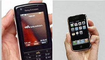 сталкиваем лбами - sony ericsson W 960i VS Apple iPhone